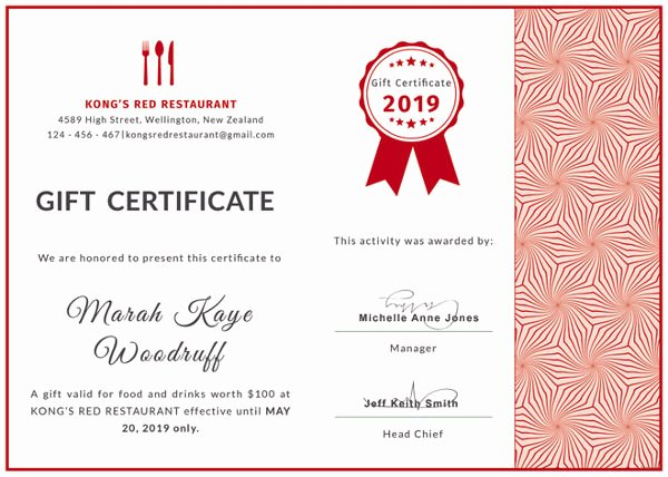 Hotel Gift Certificate Template New 20 Restaurant Gift Certificate Templates – Free Sample Example format Download