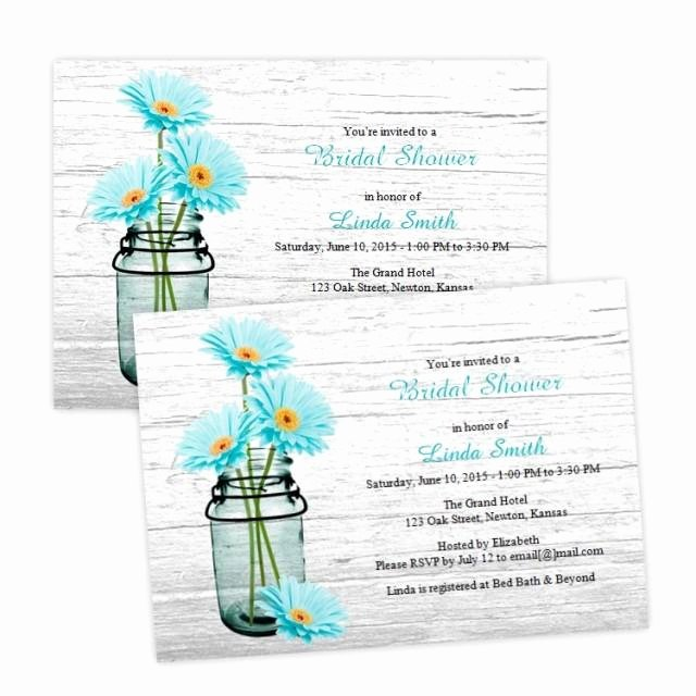 Housewarming Invitation Template Microsoft Word Unique Country Bridal Shower Invitation Aqua Daisies In A Mason Jar Diy Printable Template