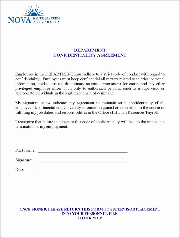 Human Resources Confidentiality Agreement Beautiful Human Resources Confidentiality Agreement Templates