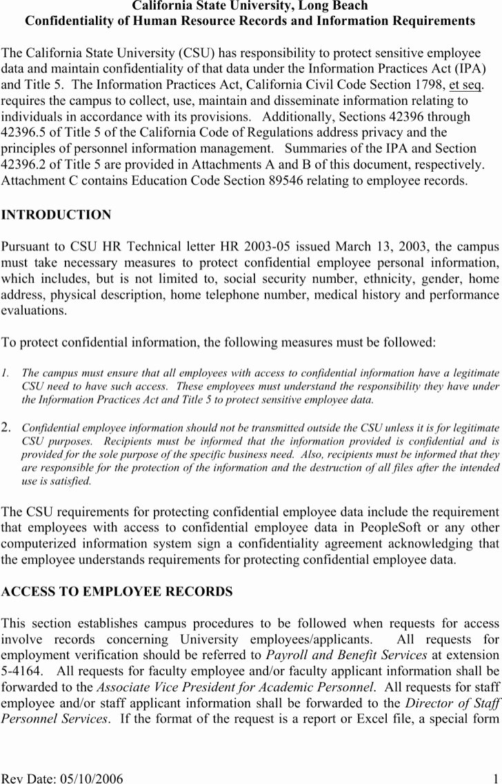 Human Resources Confidentiality Agreement Best Of 9 Human Resources Confidentiality Agreement Templates Free Download