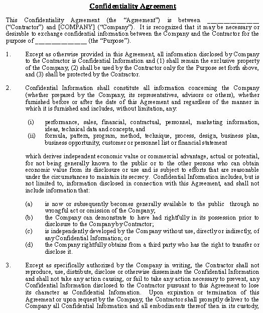 Human Resources Confidentiality Agreement Best Of Confidentiality and Nondisclosure Agreement General Template