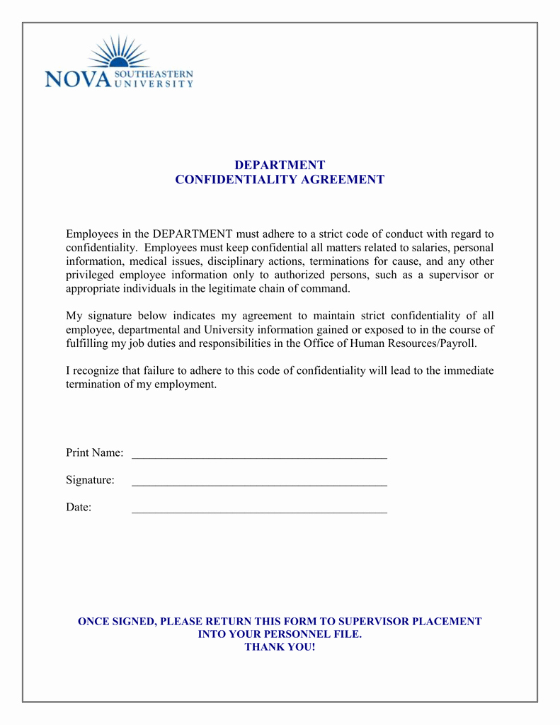 Human Resources Confidentiality Agreement Best Of Human Resources Confidentiality Agreement Sample