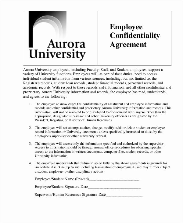 Human Resources Confidentiality Agreement Fresh 8 Hr Confidentiality Agreements Free Word Pdf format Download