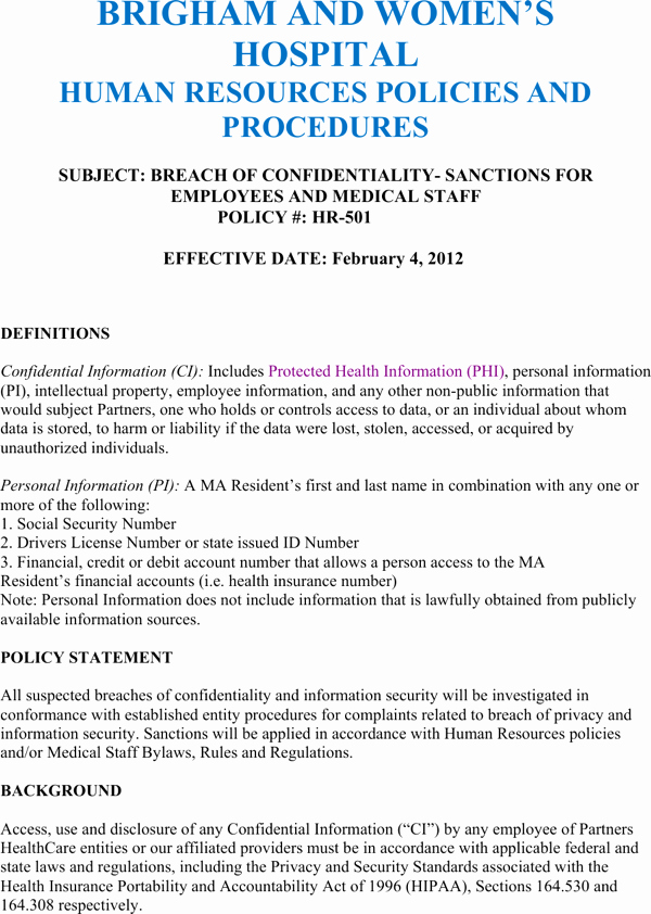 Human Resources Confidentiality Agreement Inspirational Download Strategic Human Resources Confidentiality Agreement Example for Free