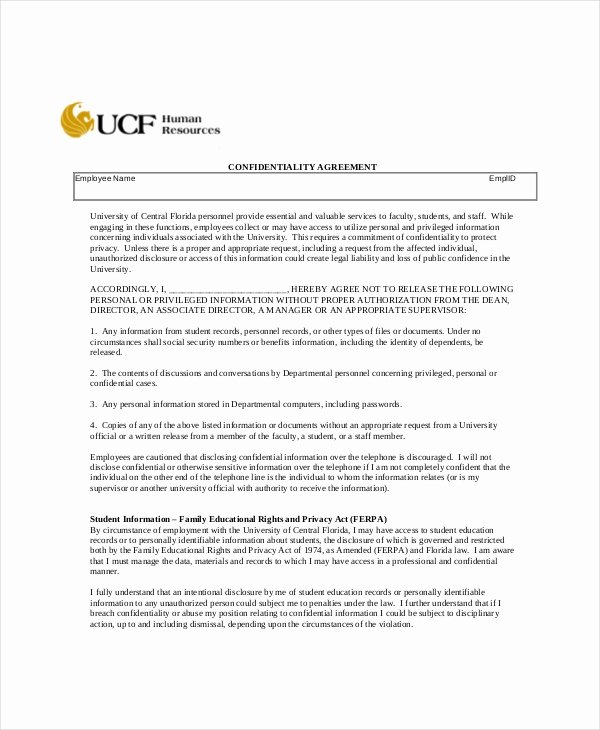 Human Resources Confidentiality Agreement Inspirational Human Resources Confidentiality Agreement 9 Free Word Pdf Documents Download