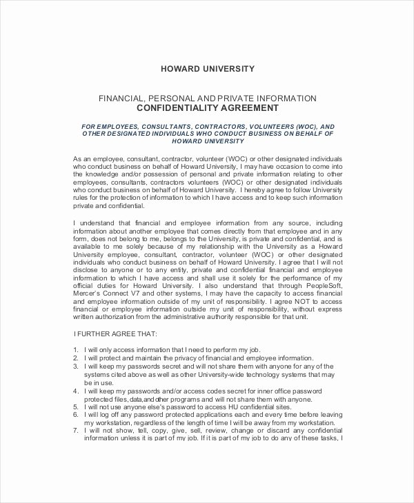 Human Resources Confidentiality Agreement New 12 Human Resources Confidentiality Agreement Templates Free Sample Example format Download