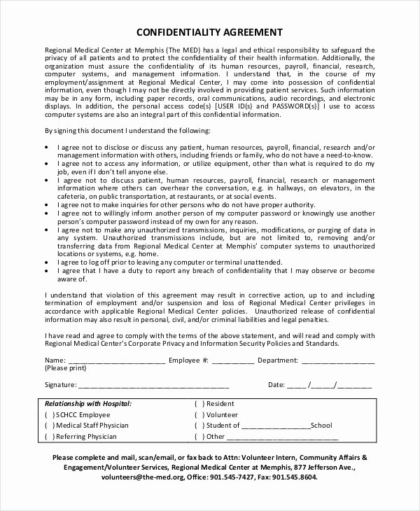 Human Resources Confidentiality Agreement New 35 Confidentiality Agreement Templates Free Word Pdf format