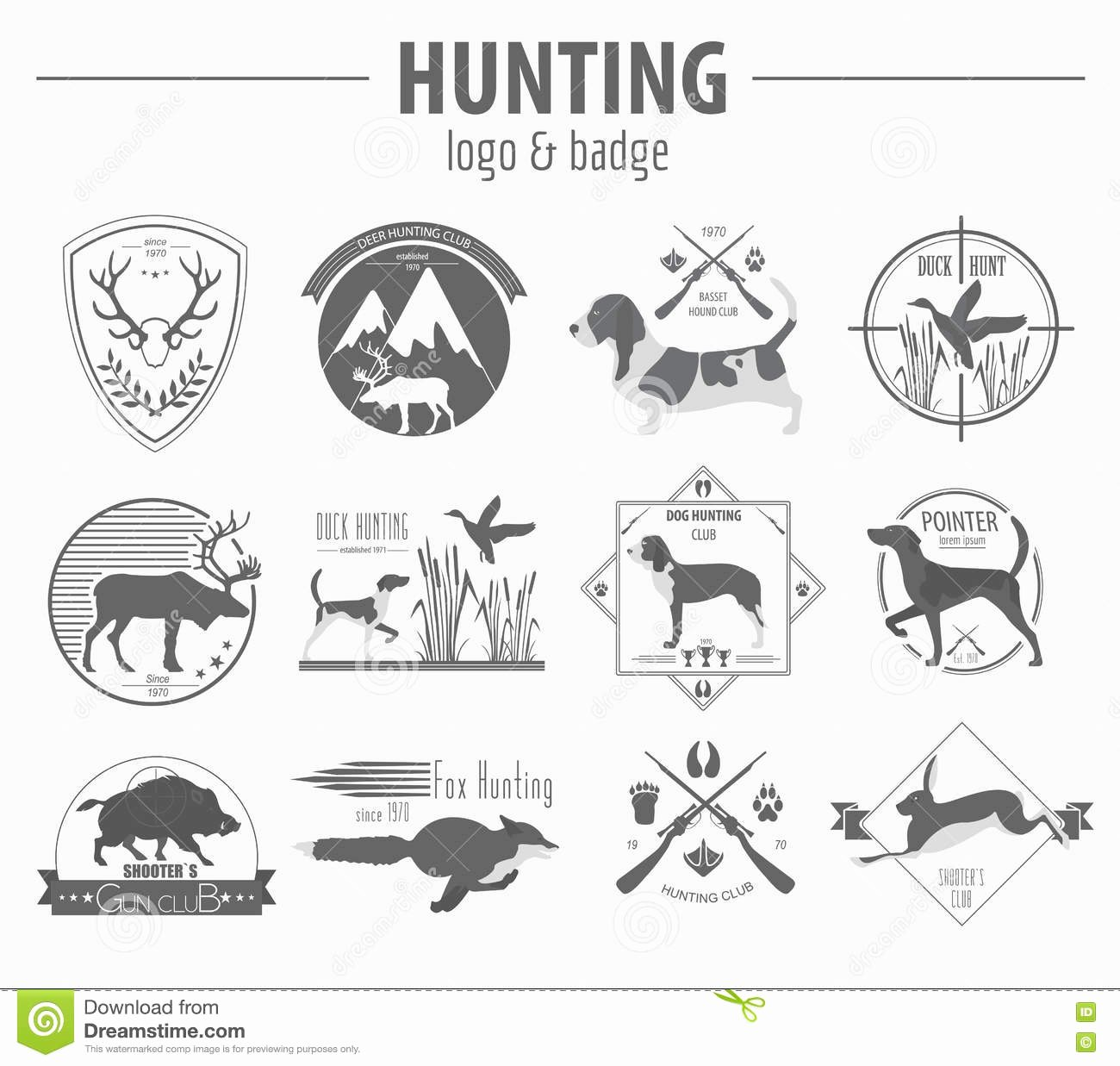 Hunting Logo Design Templates Unique Hunting Logo and Badge Template Dog Hunting Equipment Flat D Stock Vector Illustration Of