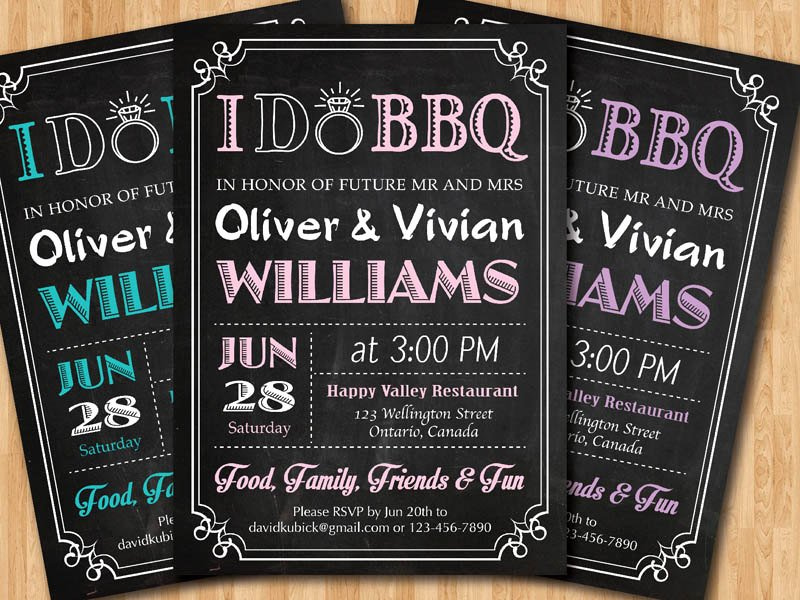 I Do Barbecue Invitations Inspirational I Do Bbq Wedding Invitation Chalkboard Invite Pink Blue