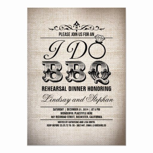 I Do Barbecue Invitations Lovely I Do Bbq Burlap Rehearsal Dinner Invitation