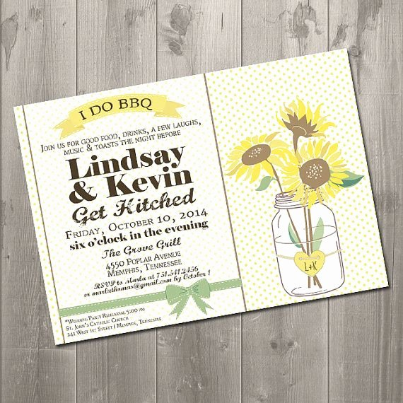 I Do Barbecue Invitations New Sunflower Mason Jar I Do Bbq Diy Printable Rehearsal Dinner Invitation $15 00