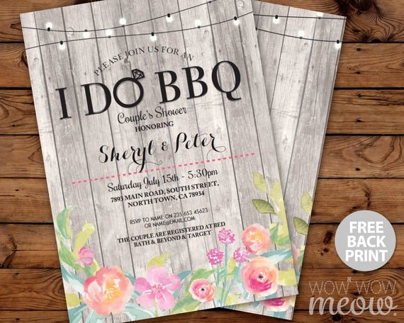 I Do Bbq Invitations Awesome I Do Bbq Invitations Couple S Shower Floral Printable