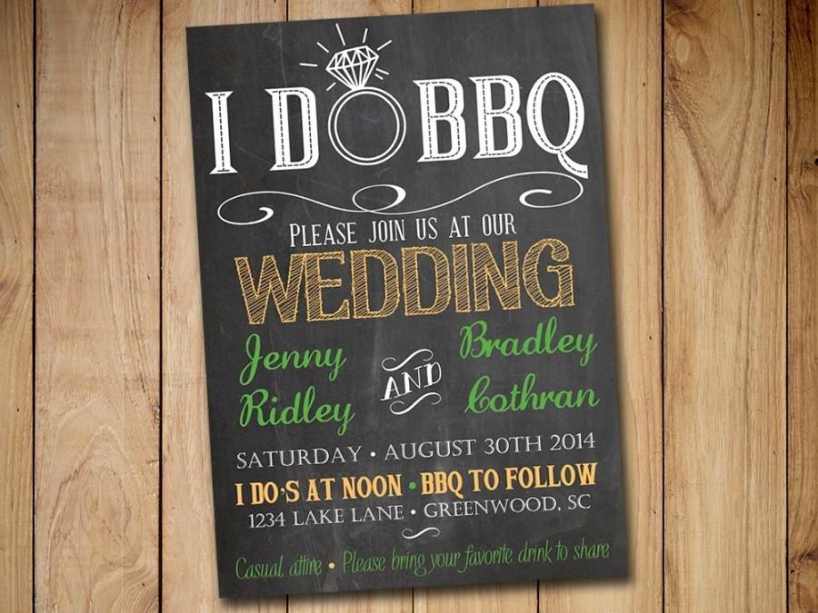 I Do Bbq Invitations New I Do Bbq Wedding Invitation Template Download Chalkboard Invitation Green orange 5x7 Wedding