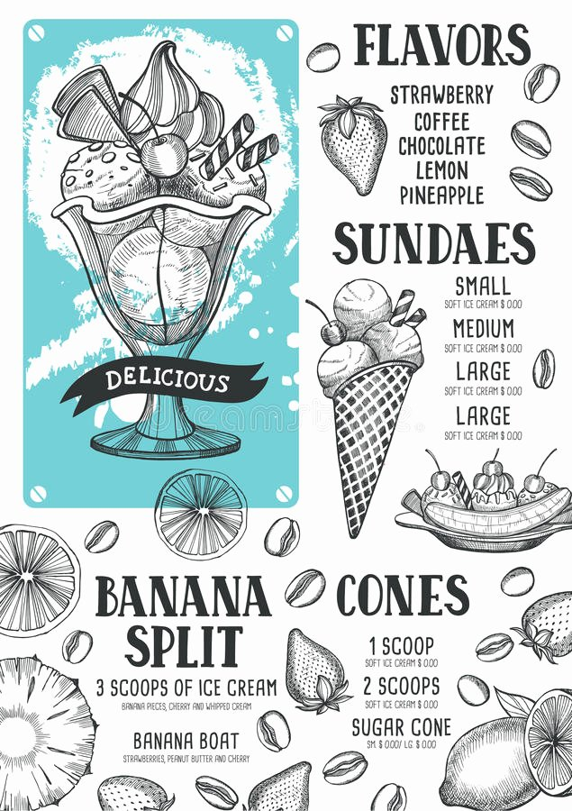 Ice Cream Menu Template Awesome Ice Cream Menu Template for Restaurant and Cafe Stock Vector Image
