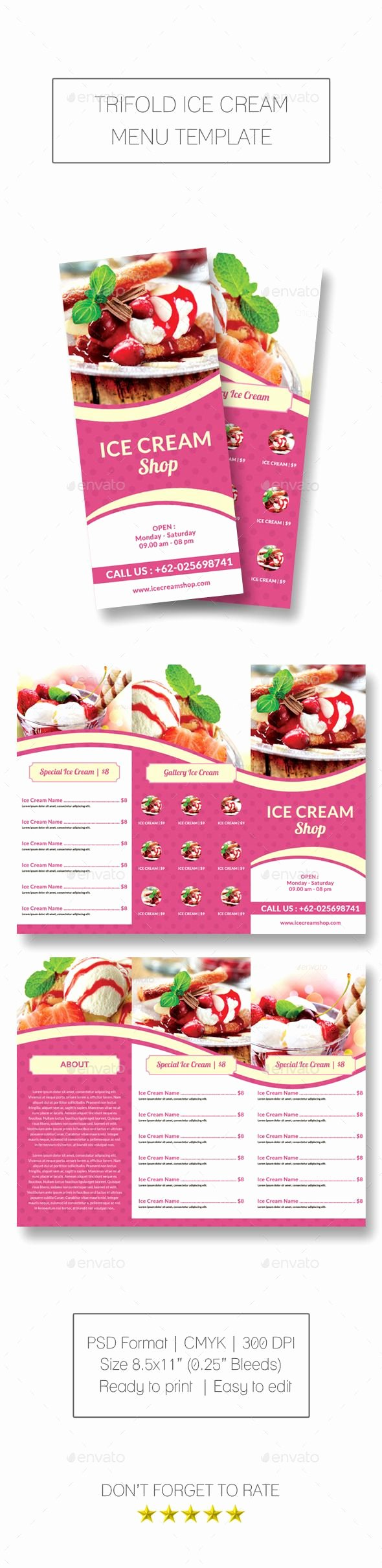 Ice Cream Menu Template Awesome Trifold Ice Cream Menu Template