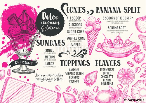 "Ice Cream Menu Template Beautiful ""ice Cream Menu Template for Restaurant and Cafe "" Stock Image and Royalty Free Vector Files On"