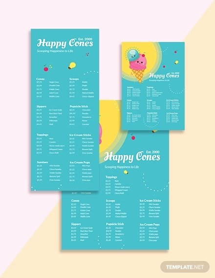 Ice Cream Menu Template New 13 Ice Cream Menu Templates Psd Eps Ai Word