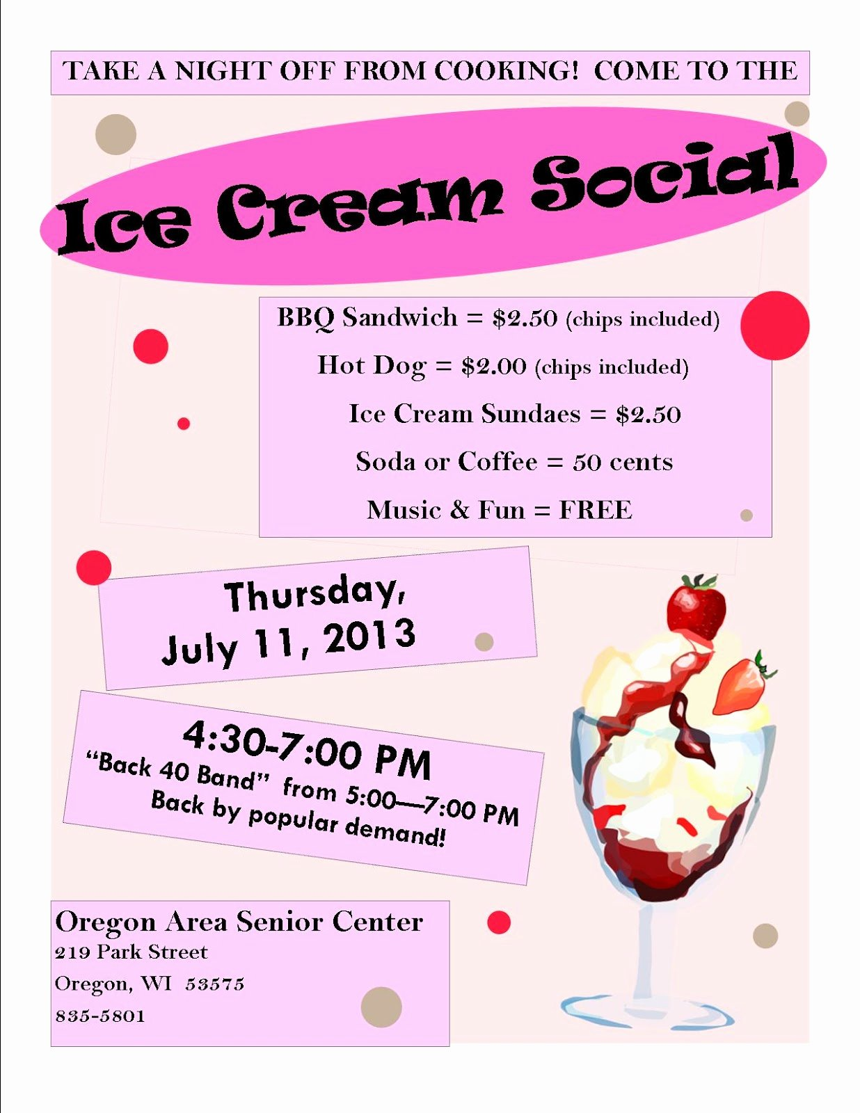 Ice Cream social Flyer Beautiful oregon area Senior Center Council On Aging 07 01 2013 08 01 2013