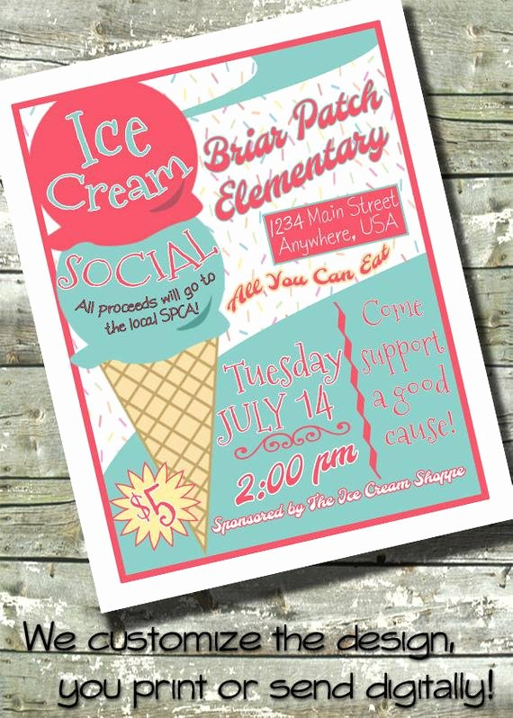 Ice Cream social Flyer Best Of Items Similar to Ice Cream social Party 5x7 Invite 8 5x11 Flyer 11x14 Poster 300 Dpi
