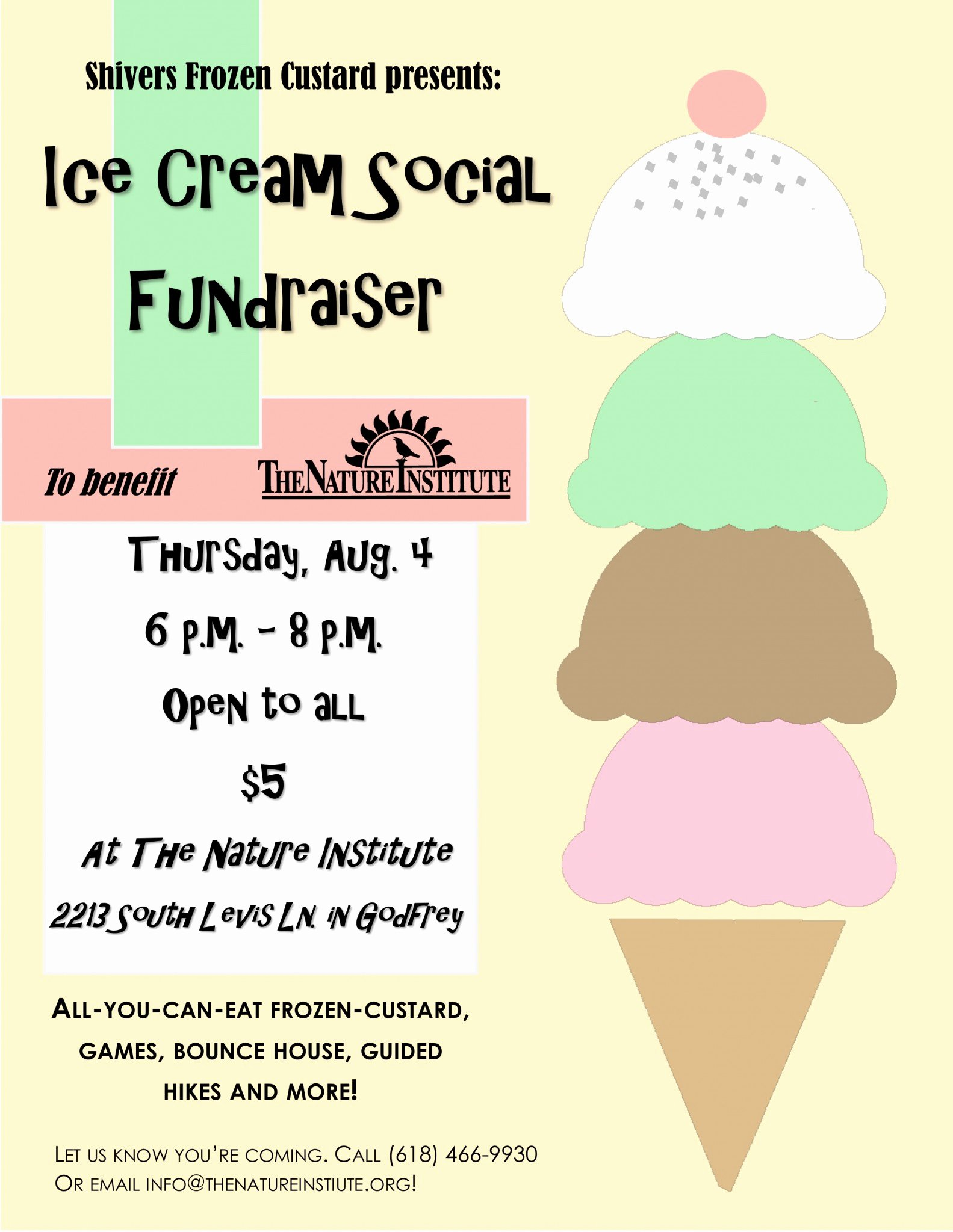 Ice Cream social Flyer Best Of the Nature Institute Shivers Frozen Custard Presents Tni Ice Cream social Fundraiser the