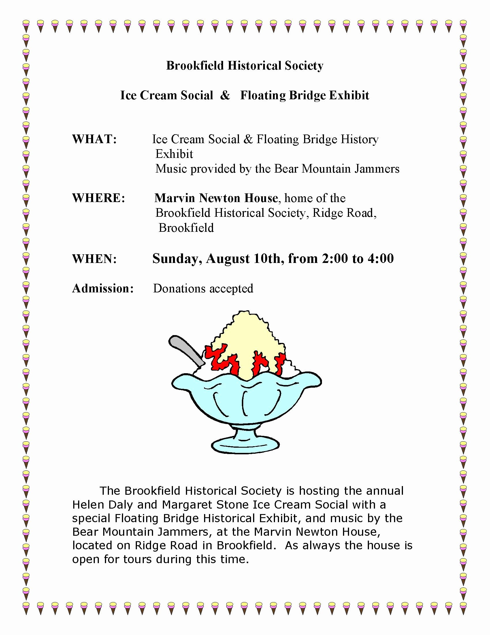 Ice Cream social Flyer Elegant Brookfield Historical society Brookfield Vermont