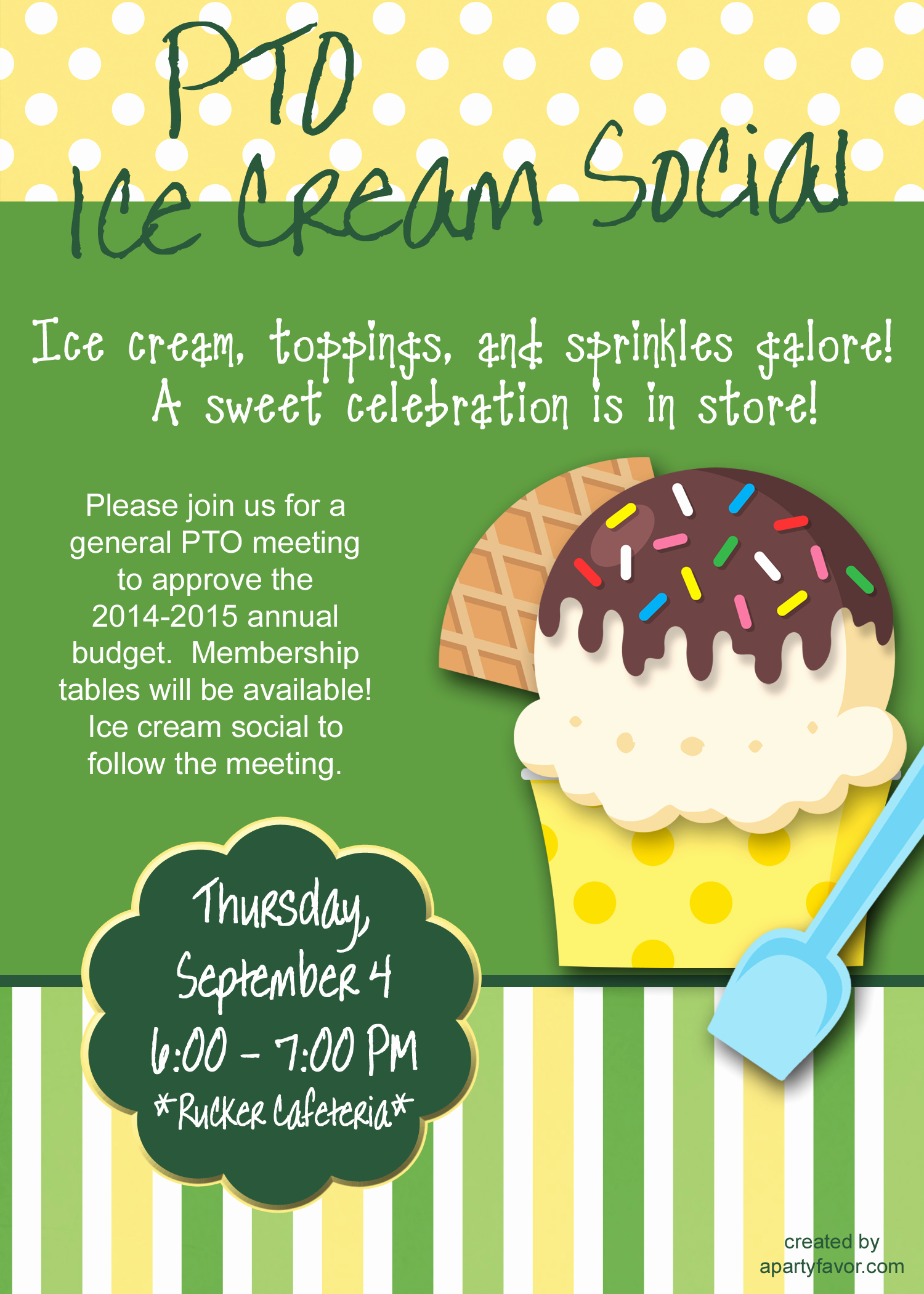 Ice Cream social Flyer Elegant event Flyer for Ice Cream social Perfect for association Meeting In the Fall or In the Summer