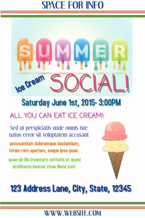 Ice Cream social Flyer Inspirational Ice Cream social Template