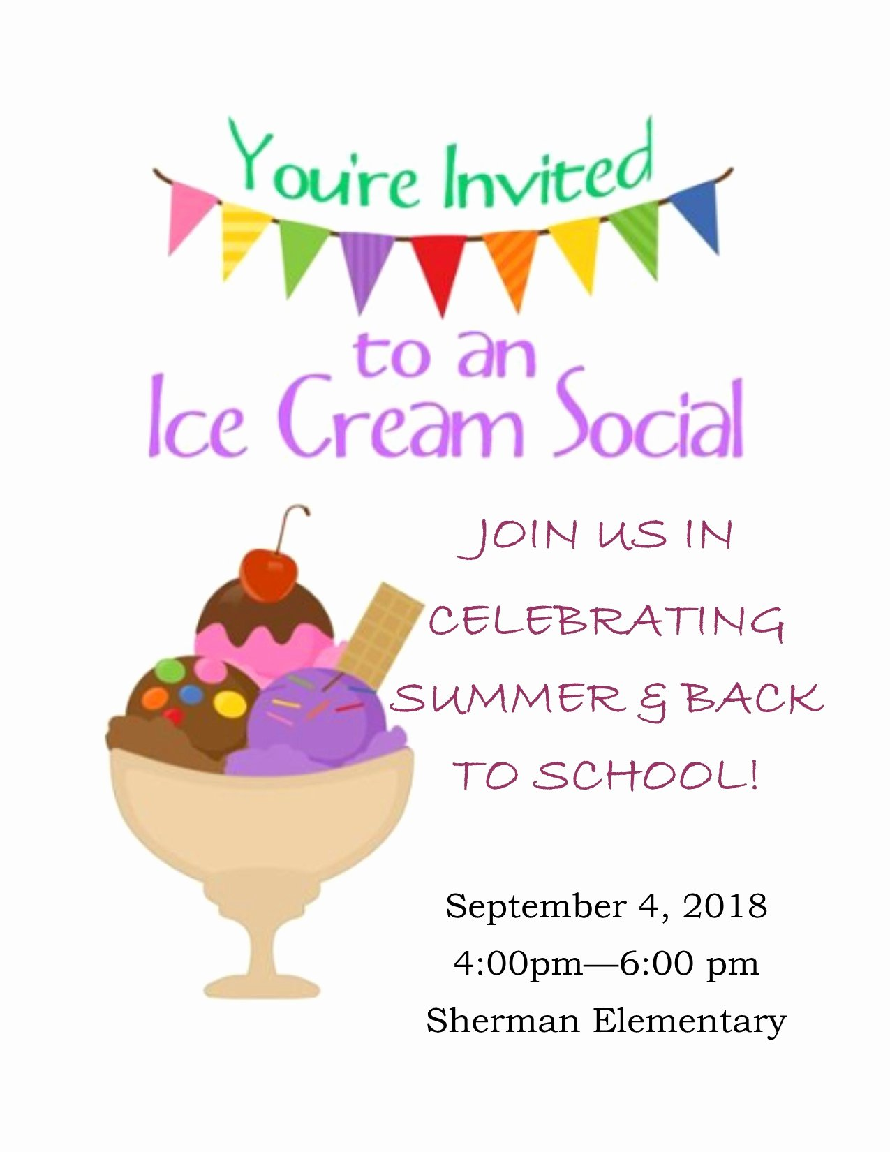Ice Cream social Flyer New Ice Cream social 2018
