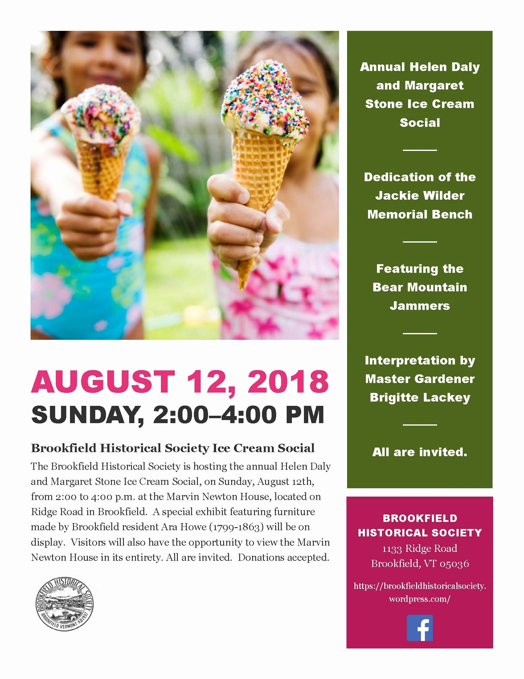 Ice Cream social Flyer Unique Brookfield Historical society Vt