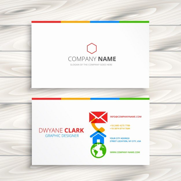 Icon for Business Card Awesome White Business Card with Colorful Icons Vector