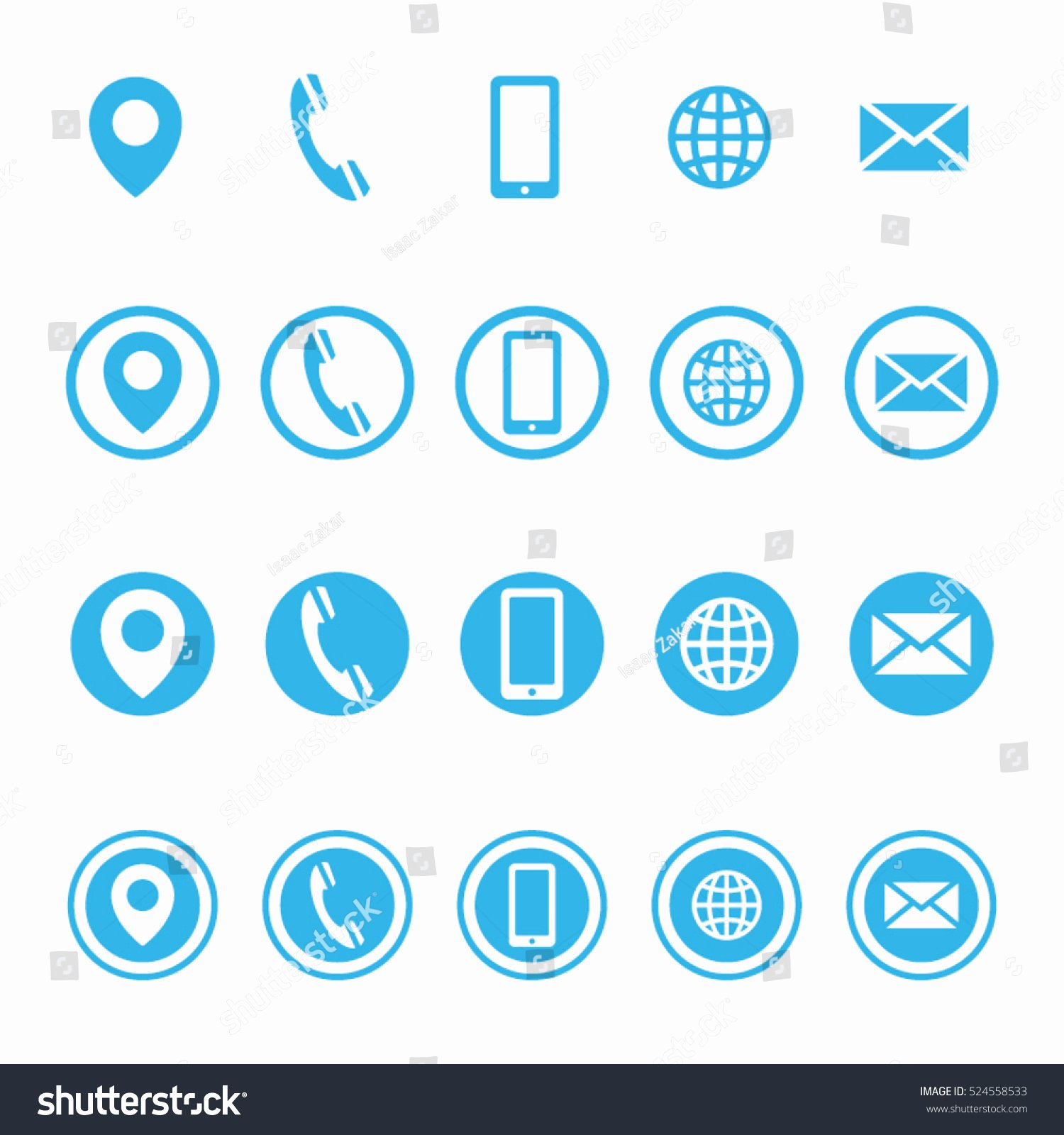 Icon for Business Card Beautiful Vector Business Card Contact Information Icons Stock