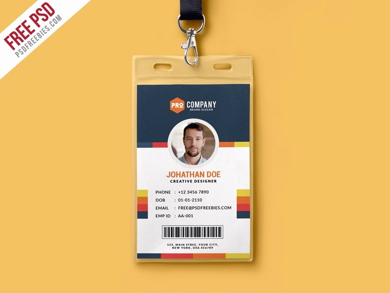 Id Badge Template Photoshop Awesome Id Card Template