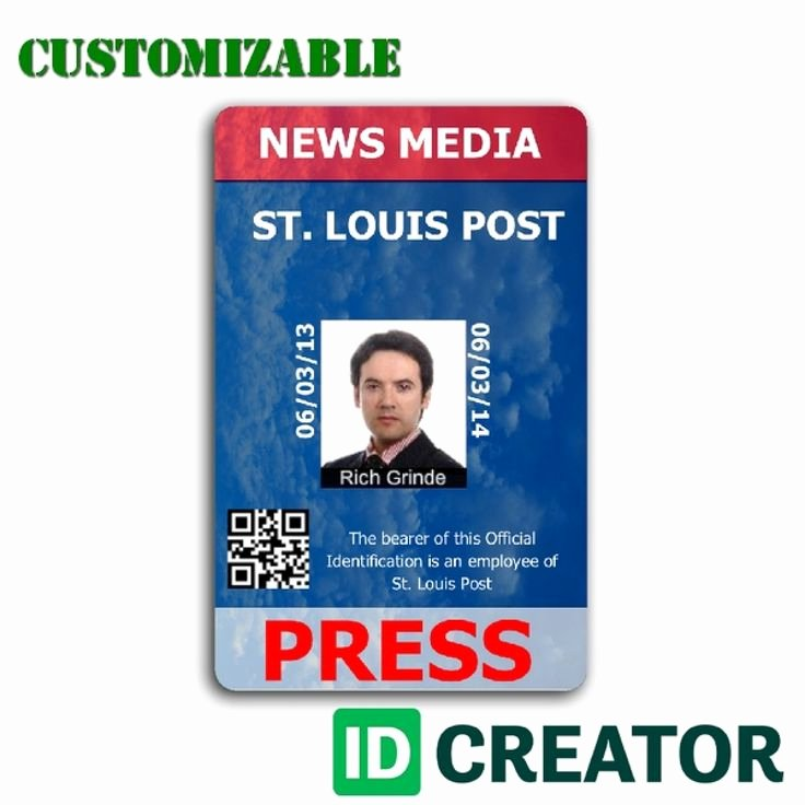 Id Badge Template Photoshop Luxury 15 Best Press Pass Images On Pinterest