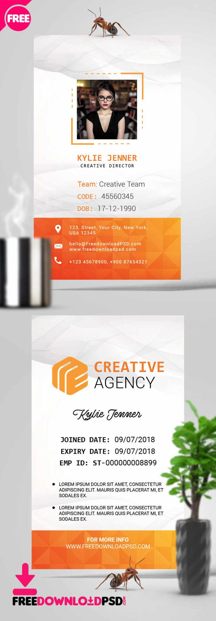 Id Card Template Photoshop Elegant Fice Identity Card Psd Template