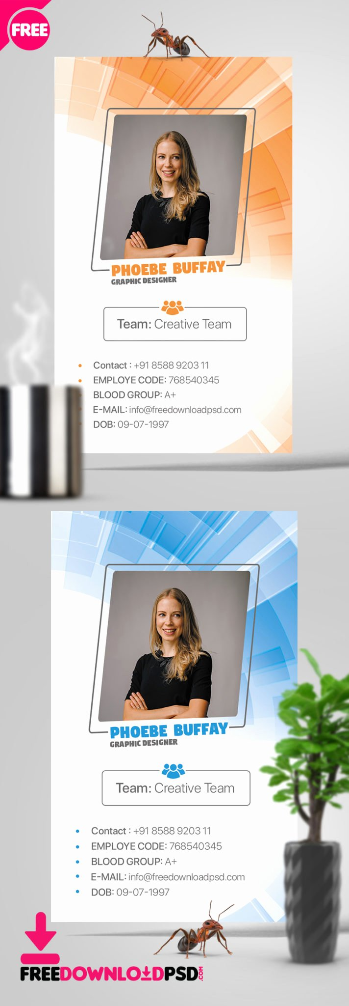 Id Card Template Photoshop Elegant Minimal Identity Card Psd Template
