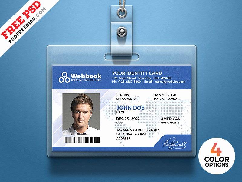 Id Card Templates Photoshop Elegant Free Id Card Template Psd Set