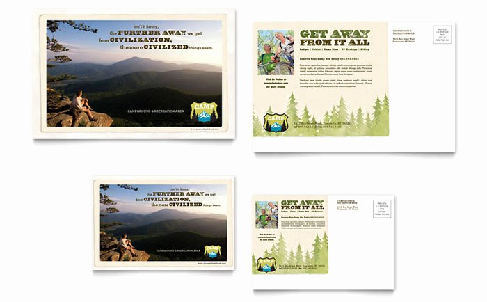 In Design Postcard Template Awesome Nature Camping & Hiking Postcard Template Design