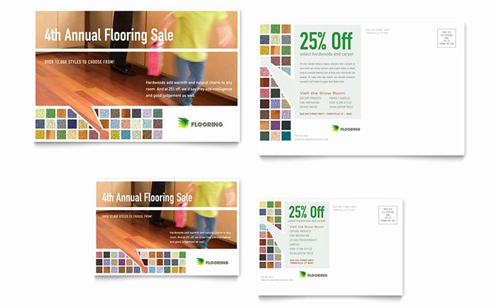 In Design Postcard Template Beautiful Carpet & Hardwood Flooring Postcard Template Design
