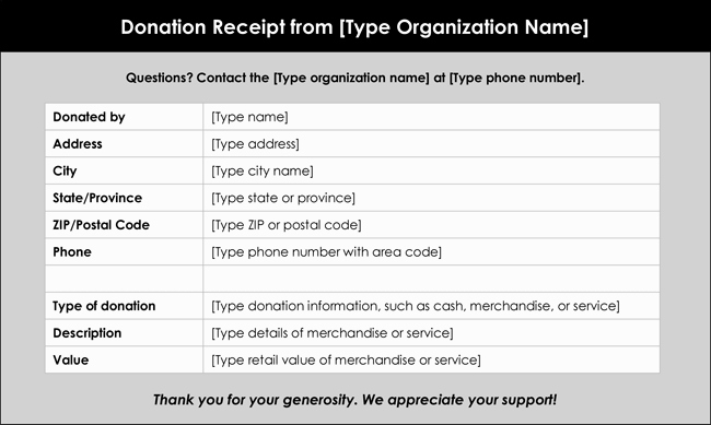 In Kind Donation Receipt Template Fresh Donation Receipt Template 12 Free Samples In Word and Excel