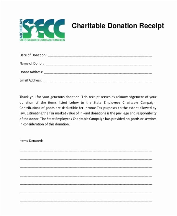 In Kind Donation Receipt Template New 5 Charitable Donation Receipt Templates formats Examples In Word Excel