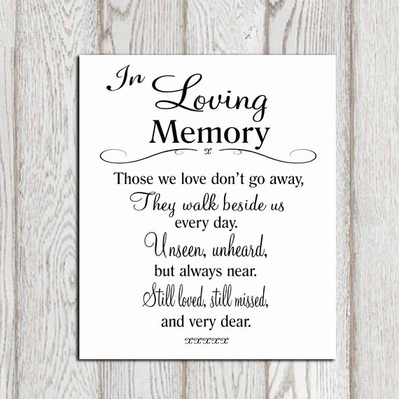 In Loving Memory Template Free Awesome Wedding Memorial Table In Loving Memory Printable Memorial