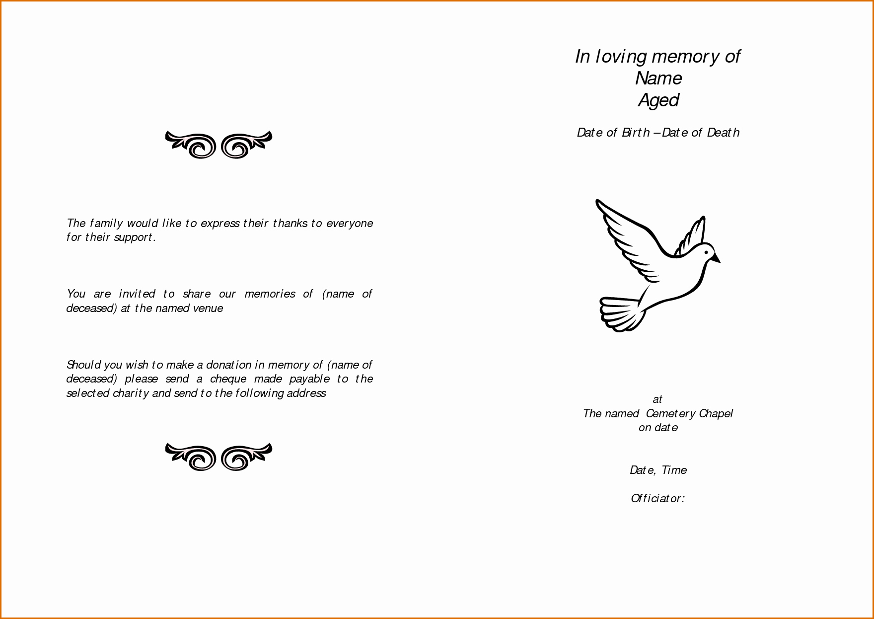 In Loving Memory Template Free Beautiful 11 Free Funeral Program Templates