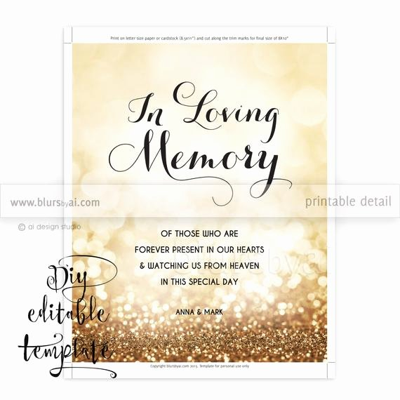 In Loving Memory Template Free Beautiful Printable Memorial Sign Template Diy Wedding Memorial Sign In Loving Memory Sign Gold Wedding