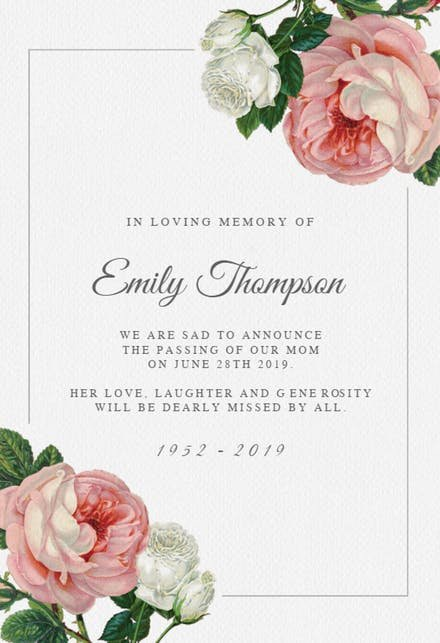 In Loving Memory Template Free Elegant Memorial & Funeral Card Templates Free