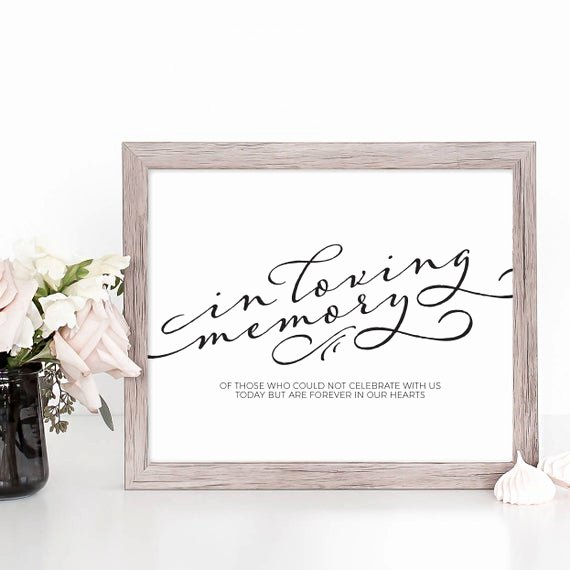 In Loving Memory Template Free Fresh In Loving Memory Wedding Sign Printable Wedding Memory Sign Template Instant Download Wedding