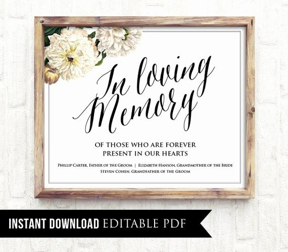 In Loving Memory Template Free Lovely Items Similar to F Editable Wedding Sign In Loving Memory Sign Template Personalize