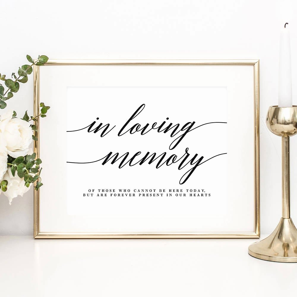 In Loving Memory Template Free Luxury Printable In Loving Memory Sign with Editable Text