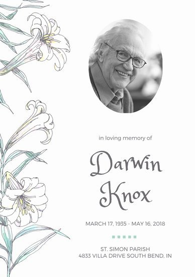 In Loving Memory Template Free New Customize 65 Funeral Program Templates Online Canva