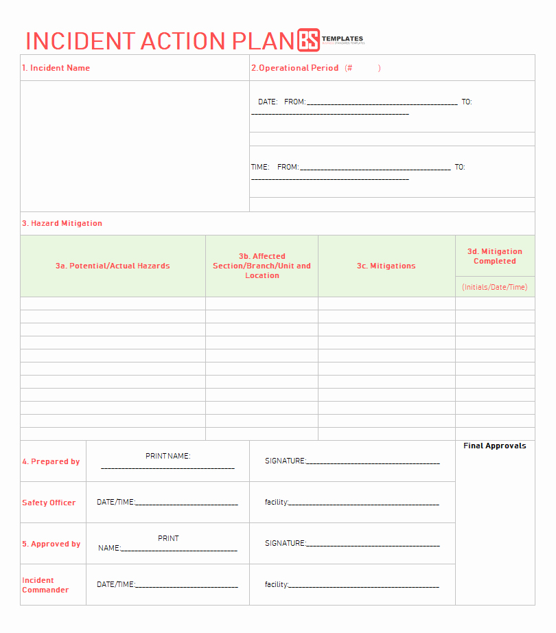 Incident Action Plan Example Elegant Action Plan Templates – Free Templates [word Excel