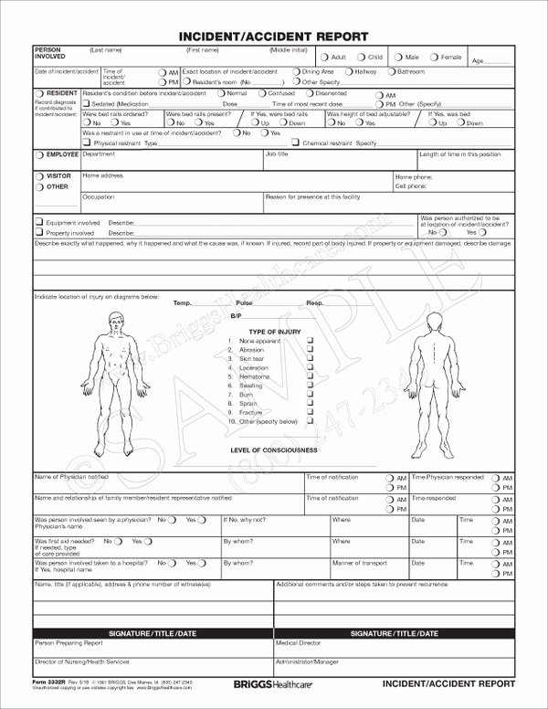 Incident Report Sample In Nursing Elegant Incident Report form